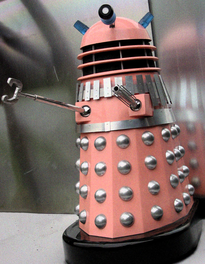 Pink Dalek with shadows.