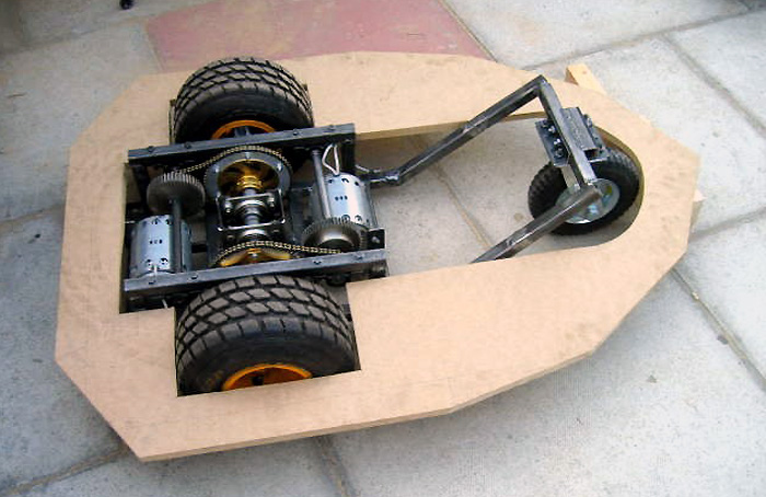 Dalek chassis complete with motors and single front wheel.